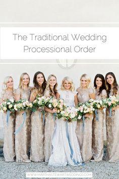 The Traditional Wedding Processional Order Wedding Processional Order, Wedding Ceremony, Our Wedding, Wedding Etiquette, Martha Stewart Weddings, Walking Down The Aisle, Bridesmaid Dresses, Wedding Dresses, Traditional Wedding
