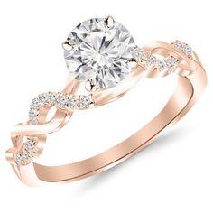 0.63 Carat Twisting Infinity Gold and Diamond Split Shank Pave Set Diamond Engagement Ring with a 0.5 Carat J-K I2 Center