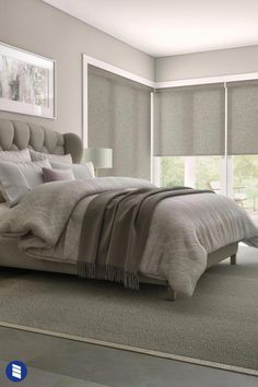 your bedroom windows a sleek look with Levolor Roller Shades - available in of colors, patterns and light blocking levels. This collection only available at . Gray Bedroom, Bedroom Colors, Master Bedroom, Master Suite, Kids Bedroom, Neutral Bedrooms, Single Bedroom, Masculine Bedrooms, Bedroom Country