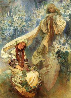 Madonna of the Lilies~Art Nouveau~Alphonse Mucha ~ Counted Cross Stitch Pattern