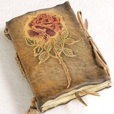 Small Rose Leather Journal by gildbookbinders.deviantart.com on @DeviantArt