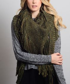 Look at this #zulilyfind! Olive Marled Tassel Wrap by Leto Collection #zulilyfinds