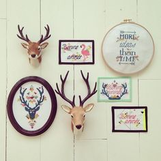 Embroidery wall, deer mounts, round, rectangle, and oval frames Oval Frame, Vintage Frames, The Hobbit, Wall Collage, Embroidery Stitches, Needlepoint, Needlework, Deer Mounts, Cross Stitch