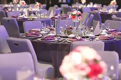 Pink and purple wedding banquet decor // Wedding on the Lawn at W Singapore: Han Wei + Sylvia