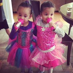Madison & Makenna performing a duet with their new dresses.  my twinnies. #twins