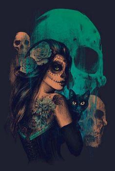 Badass sugar skull art