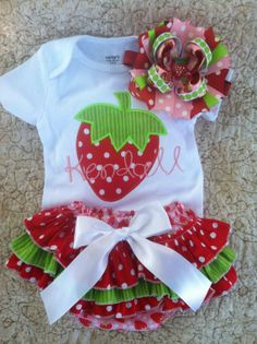 Strawberry customized onesie ruffle by pigtailsandgumdrops on Etsy, $58.00