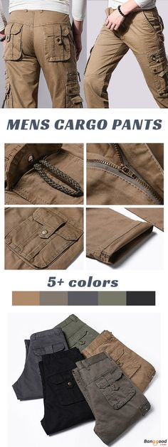 Mens Casual Outdoor Cargo Pants Military Multi-pocket Cotton