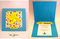 Convite com Aplique (Cata-vento) :: Tema Brinquedos Antigos