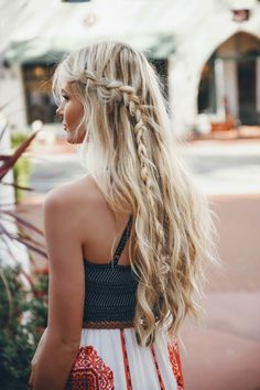 Long blonde braided hair