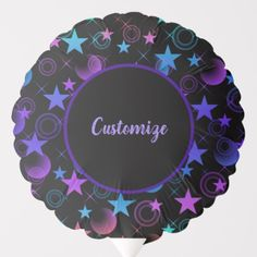 Shop Personalized Stars 'n Stuff Pattern Balloon created by BlueRose_Design. Helium Gas, Photo Balloons, Custom Balloons, Purple Pattern, Birthday Parties, Centerpieces, Decorative Plates, Bouquet, Stars