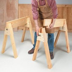 Stow-Away Sawhorses   Woodsmith Tips- I love the design of these- I can see making different versions of the crosspiece for other uses (like making a desk/table top with the cross pieces attached to the bottom.