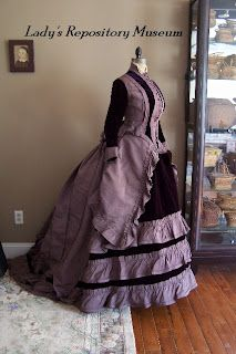 """""""c1872 plum silk & velvet visiting gown. This was worn by my Lady in her parlour to receive guests....never worn outside."""" Lady's Repository Museum"""