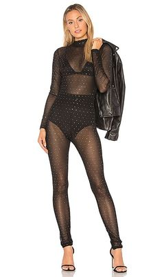 af47f9e2601 Motel Sita Netted Jumpsuit in Black Crystal Net