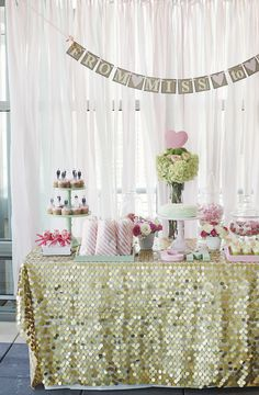 beautiful bridal shower backdrop and gold tablecloth. http://couldbeinteresting.com/a-mint-and-pink-bridal-shower/#