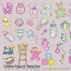 Maria Diaz - 36 Baby motifs zoom 1 (cross stitch chart)