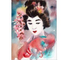 Geisha  Original Watercolor Painting 8 1/2 x 11 by CMwatercolors