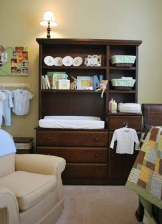 The changing table and hutch.