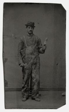 OCCUPATIONAL TINTYPE OF HOUSE PAINTER IN WORK OVERALLS HOLDING BRUSH in Collectibles, Photographic Images, Vintage & Antique (Pre-1940), Tintypes | eBay