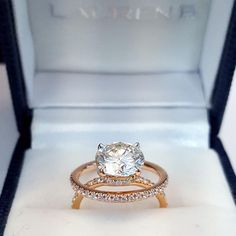"""gold engagement ring and wedding band set from #LaurenB"""