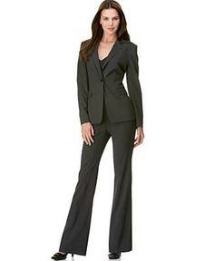 Calvin Klein Women's Charcoal 3-button Jacket Pant Suit by Calvin ...