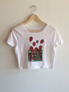 b79334d0 Strawberry Crop Top, Strawberry Shirt, Food Shirt, Gardening Gift, Foodie  Gift