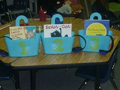 Use shower caddies from Hobby Lobby to store book, headphones, and cd player/iPod shuffle! Great teacher blog with ideas too!