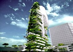 """Singapore's Ecological EDITT Tower  """"Currently pending construction in Singapore, the EDITT Tower will be a paragon of 'Ecological Design In The Tropics'. Designed by TR Hamzah & Yeang and sponsored by the National University of Singapore, the 26-story high-rise will boast photovoltaic panels, natural ventilation, and a biogas generation plant all wrapped within an insulating living wall that covers half of its surface area. The verdant skyscraper was designed to incre"""