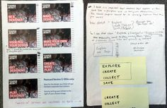 a piece of paper, shown front and back, the first with a grid of images and initials scribbled in pen, and the back with many handwritten notes on a blank page, all in pen