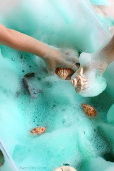 Under the sea Soapy Sea Foam Sensory Play - Twodaloo