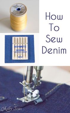 Sewing Techniques Couture Tips to Sew Denim - Melly Sews - use upholstery thread, the right needle size, and go slow - Tips and tricks to sew denim and make your own jeans Sewing Hacks, Sewing Tutorials, Sewing Crafts, Sewing Tips, Sewing Basics, Basic Sewing, Learn Sewing, Bag Tutorials, Sewing Blogs