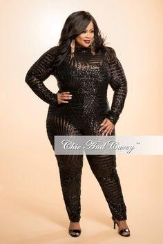 Final Sale Plus Size Sequin Jumpsuit with Back Cutout in  Black