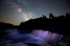 The Upper Peninsula Night Sky over Tahquamenon Falls