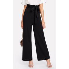 SheIn(sheinside) Self Belt Ruffle Waist Wide Leg Pants ($18) ❤ liked on Polyvore featuring pants, black, high rise pants, ruffle pants, long pants, wide leg pants and stretch pants