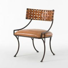 Woven Leather Caramel Helena Chair - Mecox Gardens $1900