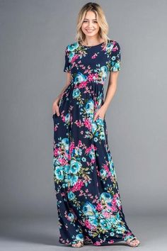 ff7167345b Bellamie Floral Maxi Short Sleeve Dress - Navy Floral Shorts