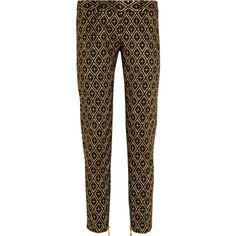 Balmain Metallic embroidered twill skinny pants (39.285 RUB) found on Polyvore