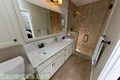bathroom fixtures travertine    Master suite bath - Travertine tile floors - Marble sink vanity with ...