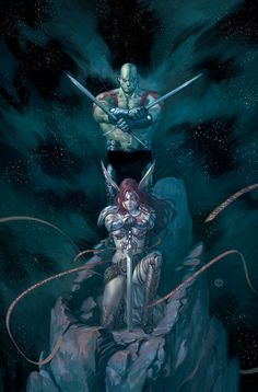 Guardians of the galaxy issue five variant - Drax the Destroyer & Angela by Julian Totino Tedesco