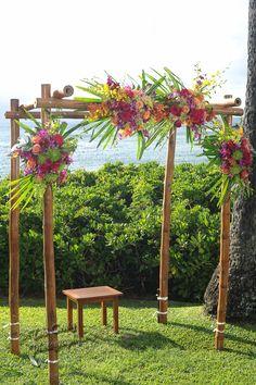 Pink Orange Hawaiian Flower Wedding Arch