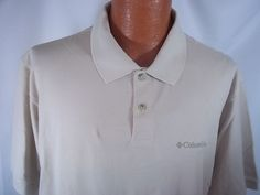 Columbia Mens Medium Polo Shirt NWT Solid Beige 100% Cotton Short Sleeve #Columbia #PoloRugby