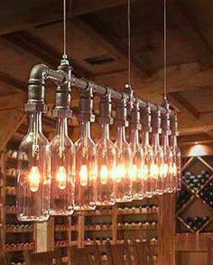 Cool wine bottle chandelier to hang from my pergola.