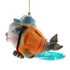 Katherine's Collection Kissing Fish CHEERLEADER ORNAMENT BLONDE HAIR Xmas