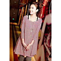 Military Uniform Style Round Neck Stripe Print Long Sleeve Loose Fit Long Women's T-Shirt, WINE RED, ONE SIZE in Tees & T-Shirts | DressLily.com