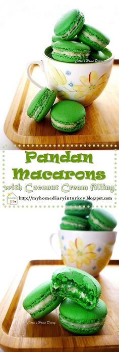 And since I love the humble of pandan taste and flavor so today I make Pandan flavor macarons. And for enrich the pandan flavor I twist it with coconut! What do you think? Pandan and coconut, sounds like my homeland with touch of French's sweets! #macaronsrecipe #sandwichcookies #cookies #dessert #pandan #pandanmacarons #coconutcream #coconut #stepbystepmacarons . Pandan Macarons with Coconut Cream filling #stepbystep