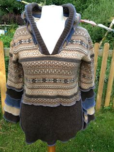 Large Upcycled Hooded Jumper, Fairisle bodice with browns and blues, made from recycled knitwear. Festival Wear. UK Seller. OOAK