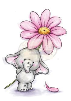 Illustration - Wild Rose Studio Clear Stamp Set - Bella with Daisy Elephant Love, Elephant Art, Elephant Tattoos, Cute Elephant Drawing, Cute Drawings, Animal Drawings, Baby Elefant, Art Mignon, Baby Art