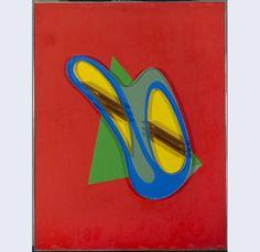 César Domela - 1991, Relief 302. Height 65 cm, width 50 cm. Oil on wood, copper and plexiglas.