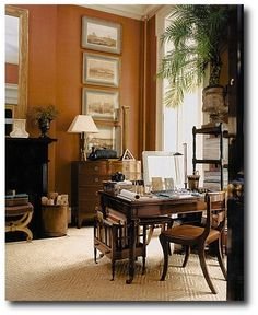 'I love the warm walls in this room. They are a pumpkin brown with caramel and mustard undertones so they are neutral and vibrant simultaneously.' JT (always in my own words) via Decorating With Dark Brown French Styling