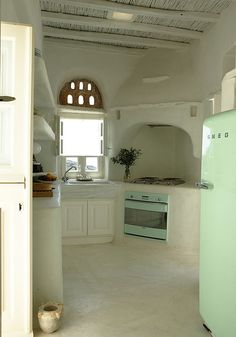 charming and unique kitchen in tinos, greece.....SMEG